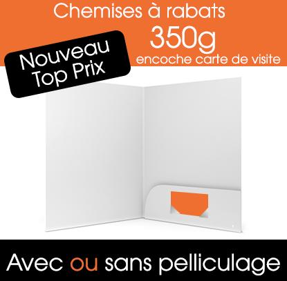 Chemise A4 350g Avec Encoche Carte De Visite Ref3