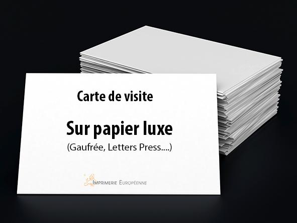 cartes de visite sur papier luxe imprimées en recto seul