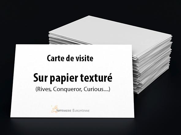 cartes de visite sur papier texturés imprimées en recto seul