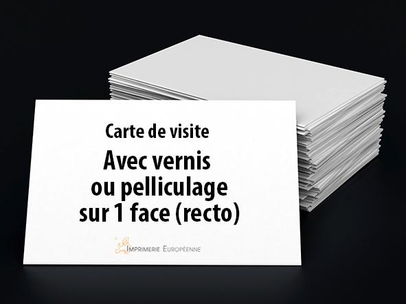 carte de visite avec vernis ou pelliculage 1 face