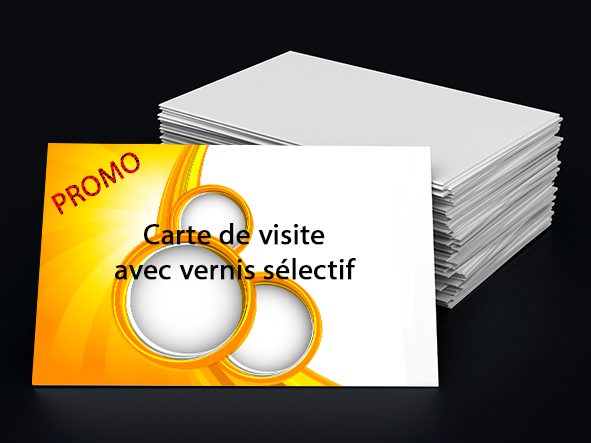 Imprimer des cartes de visite 8,5x5,4 350g/m² avec vernis sélectif   Format fichier 8,9x5,8  Format final 8,5x5,4  pelliculées recto  + vernis sélectif recto  Impression quadri recto  Délai de fabrication 4-5 jours + livraison 2 jours