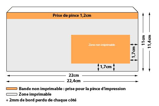 Enveloppes 11 X 22 Imp Noire Avec Fenêtre