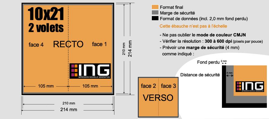 Dépliant 10x21 fermé 2 volets 250g/m² papier couché brillant ou on