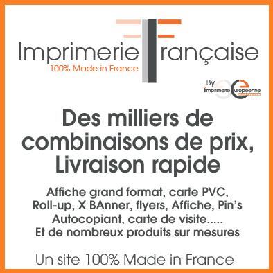 Affiche grand format, carte PVC, Roll-up, X BAnner, flyers, Affiche, Pin's Autocopiant, carte de visite..... Et de nombreux produits sur mesures sur www.imprimerie-francaise.fr