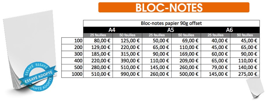 bloc notes pas cher